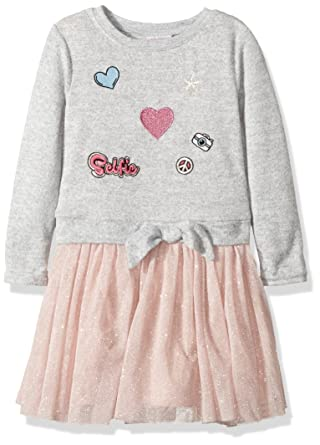 4a0e1b639 Youngland Girls' Toddler Sweatshirt Sparkle Tutu Dress with Patches, Grey/Pink,  ...