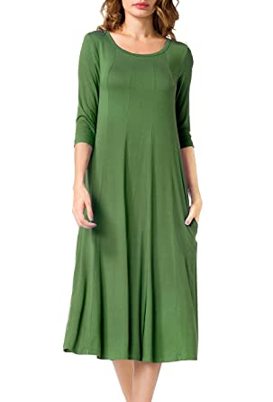 Jouica Women's 3/4 Sleeve Pockets Casual Swing Loose Dresses (Army Green ...