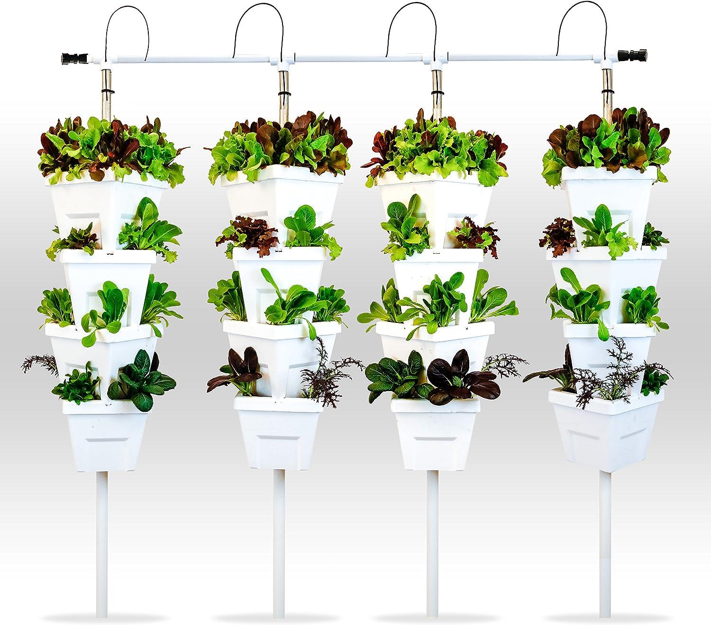 Vertical Hydroponic Diy 4 Tower Kit Amazon Co Uk Garden Outdoors