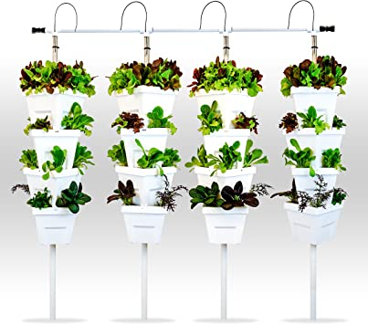 Vertical Hydroponic Diy 4 Tower Kit Amazon Co Uk Garden Outdoors