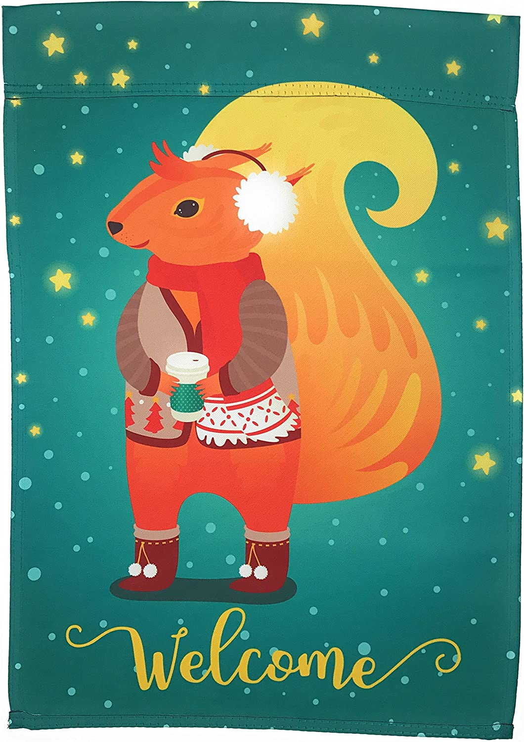 Winter Garden Flag 12 inches by 18 inches Double Sided Reads Correctly Both Sides (Squirrel with Ear Muffs and Hot Cocoa)