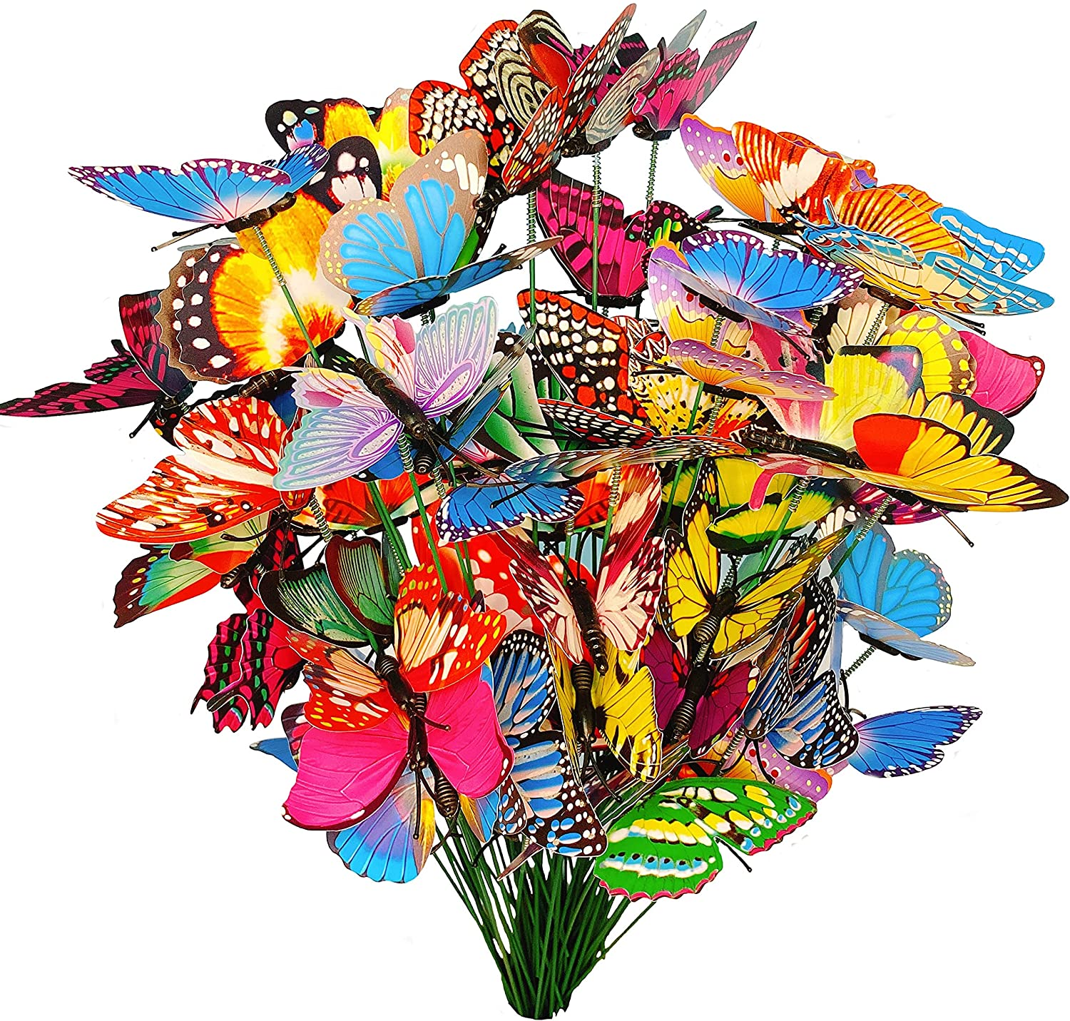 50 Pcs Butterfly Stakes, Waterproof Butterflies Stakes Garden Ornaments & Patio Decor Butterfly Party Supplies Yard Stakes Decorative for Outdoor Christmas Decorations…