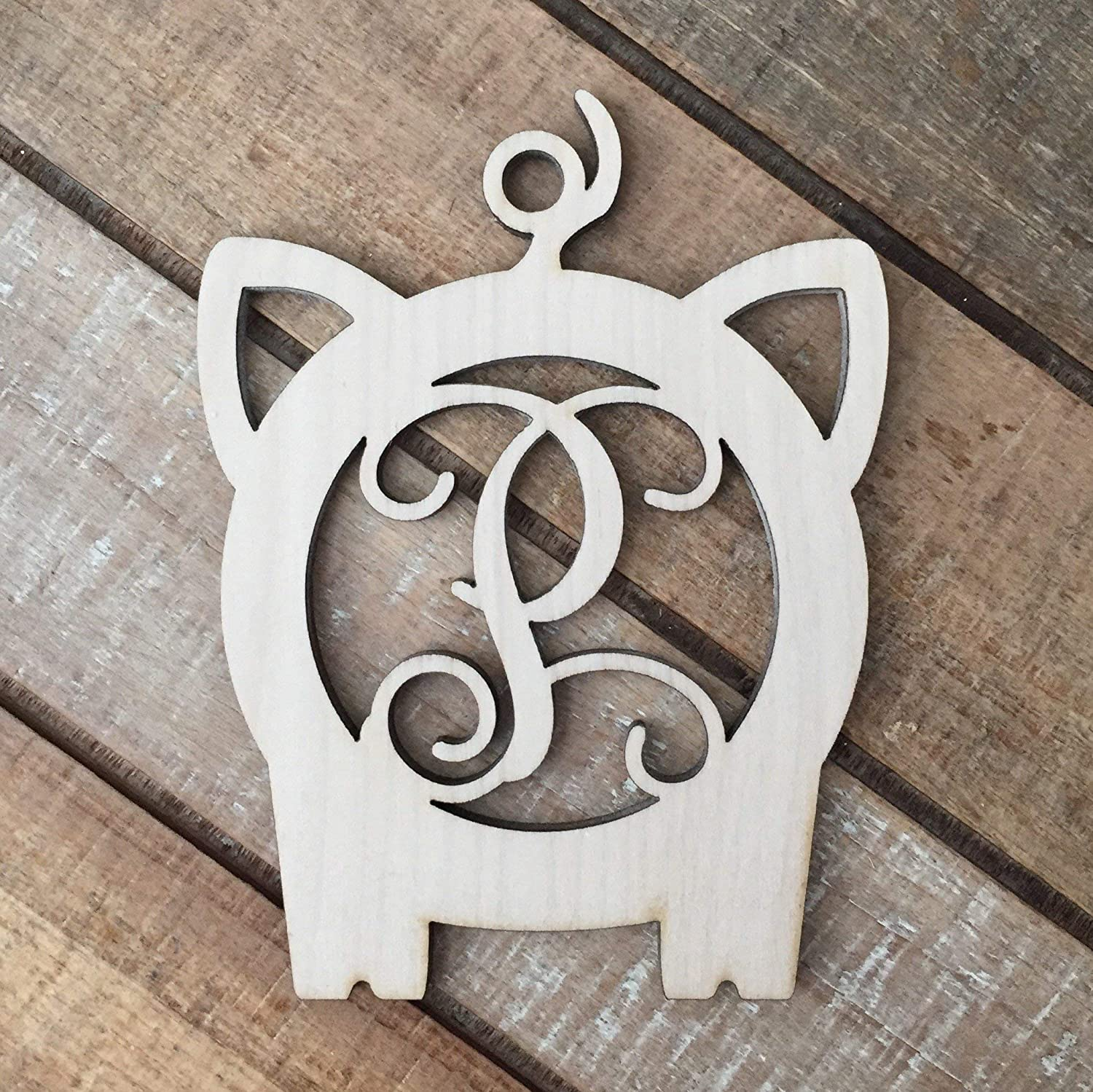 Monogram Pig Christmas Ornament Personalized Farm Christmas Ornament Laser Cut Natural Wood Christmas Ornament Oink Oink Pig Ornament