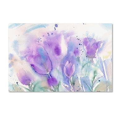 Purple Blues Artwork by Sheila Gold Ornate Frameen, 22 by 32-Inch Canvas Wall Art