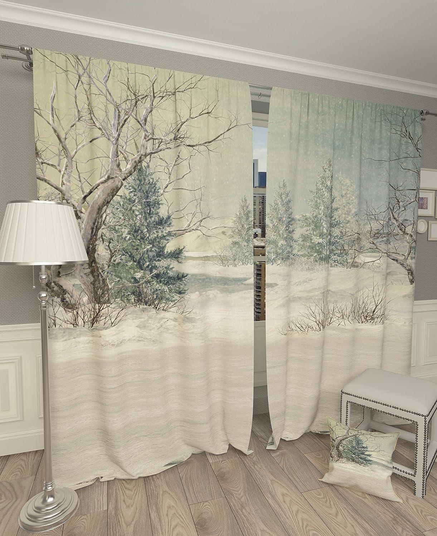 Lemare Vorhang Blickdicht Digitaldruck Winterlandschaft 2X 145x260 cm