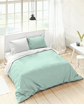 74239da9ac3 NATURALS Fundas nordicas Bicolor Reversible Verde Blanco Cama 150 cm   Amazon.es  Hogar