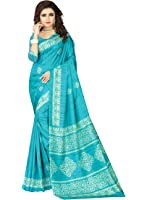 e-VASTRAM Womens Crepe Printed Art Silk Saree(V3119_Blue)