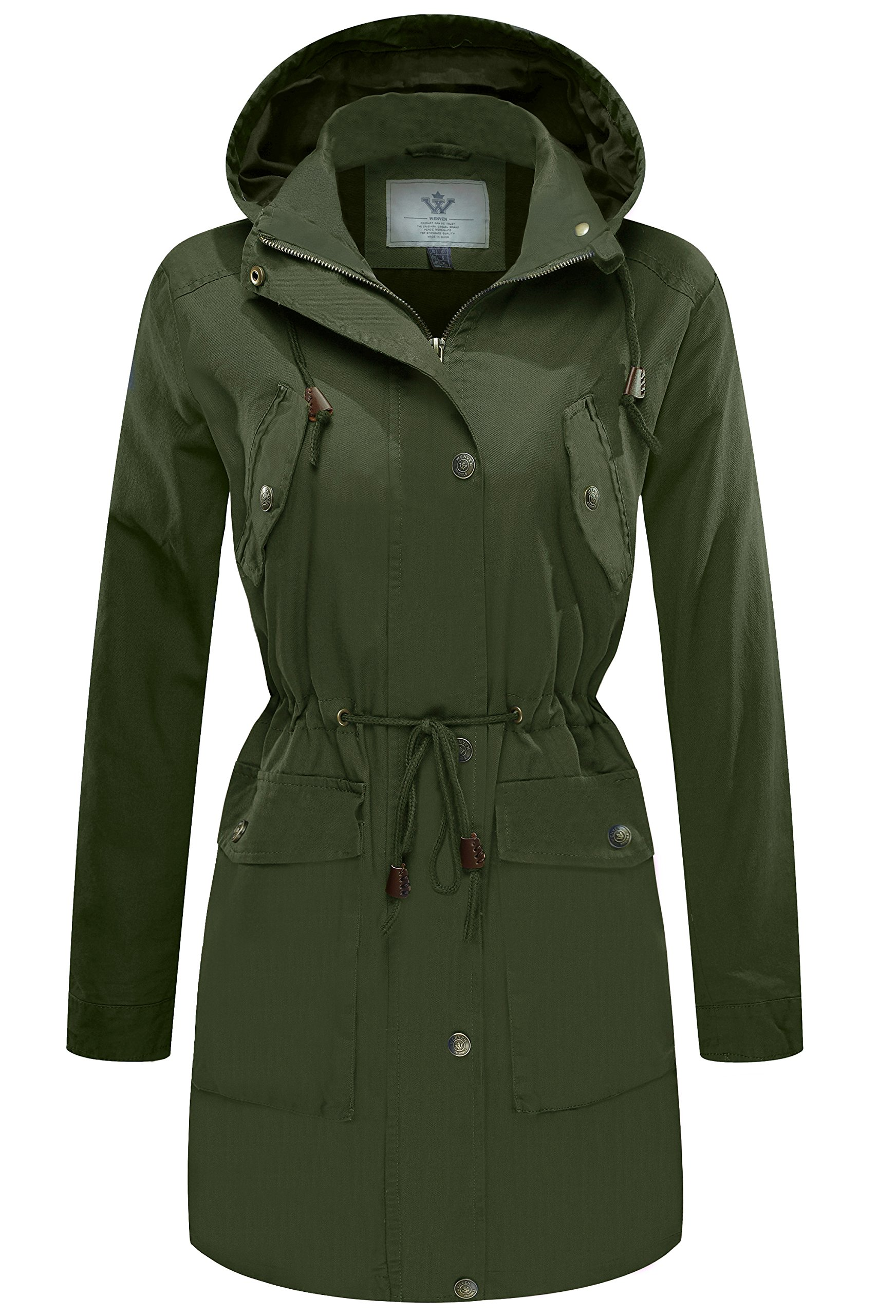 WenVen Women's Military Washed Twill Hooded Utility Anorak Jacket Green, Medium by WenVen