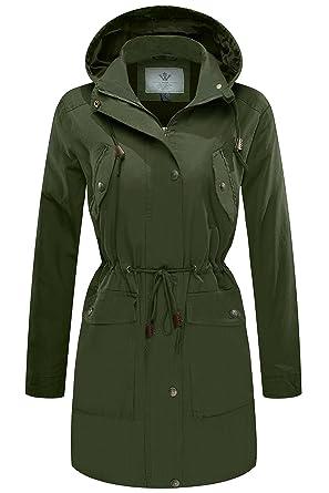 baf5f597a77 WenVen Women s Zip up Military Anorak Safari Jacket Pockets(Army  Green