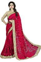 Fashion2wear Net Saree With Blouse Piece (SARV-346-N_Red_Free Size)