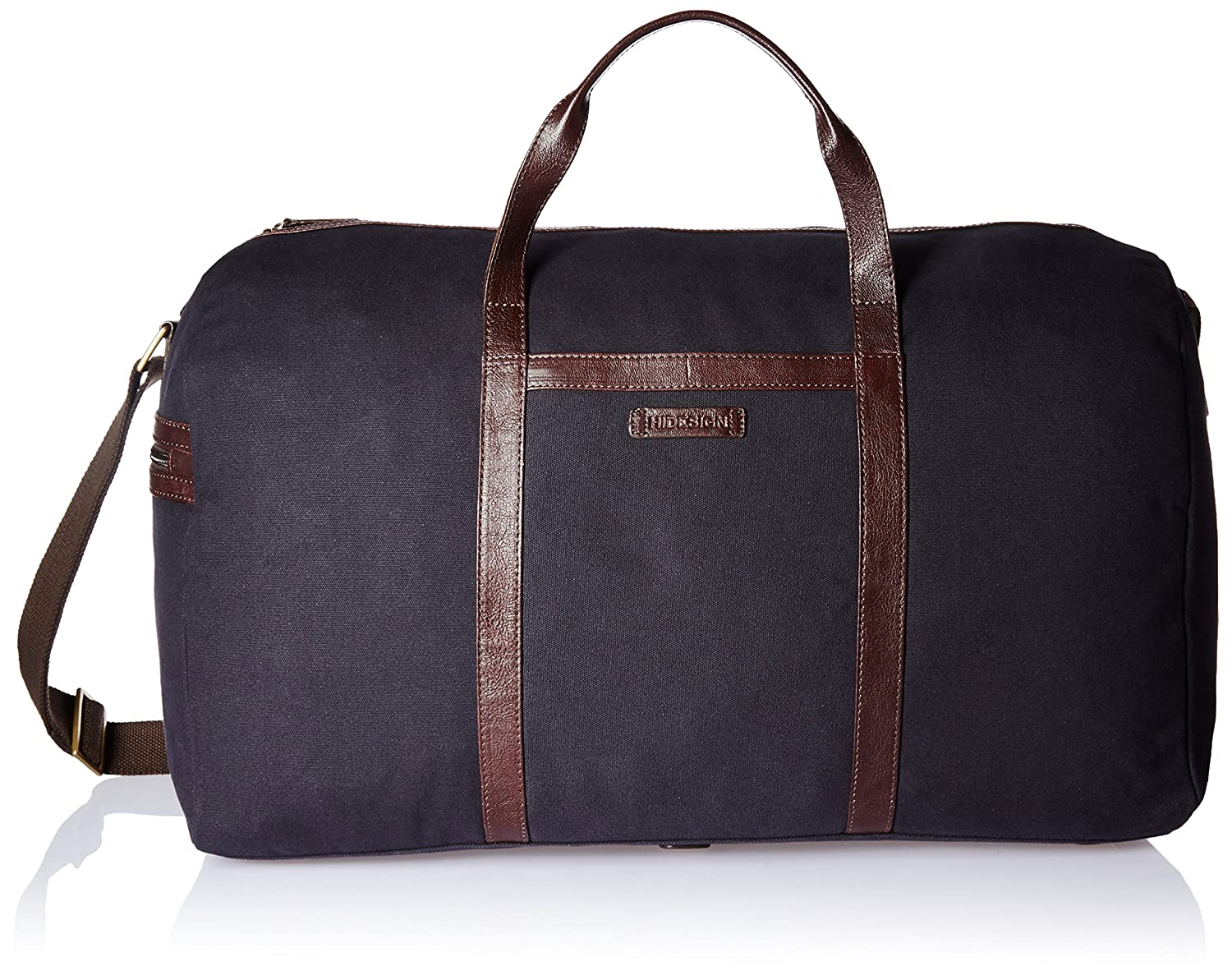 096ff0567e Hidesign Leather-Canvas 55 cms Navy Blue and Brown Travel Duffle (BORJIGIN  03)  Amazon.in  Bags
