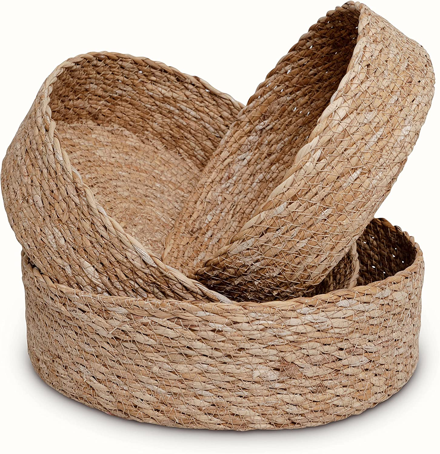 Woven Round Seagrass Basket Tray Set for Home - 3 Decorative Storage Baskets for Organizing and Storage – Sustainable, Eco-Friendly Nesting Baskets with Cotton Dust Bag for Coastal and Beach Decor (8