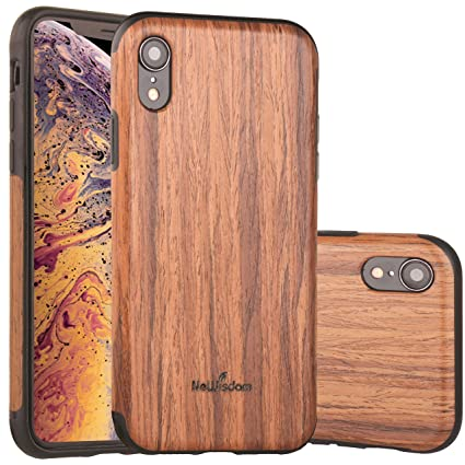 best sneakers 17229 73b63 NeWisdom iPhone XR Case Wood, iPhone XR Wood Case Unique Thin Slim Soft  Protective Anti-Shock Shockproof (6.1