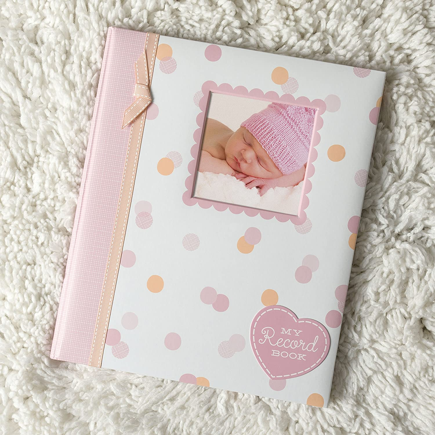 Pink Cherish Every Precious Moment of Your Babys First Years Perfect Baby Shower Gift Lil Peach Birdie Baby Five Year Memory Book Photo Journal
