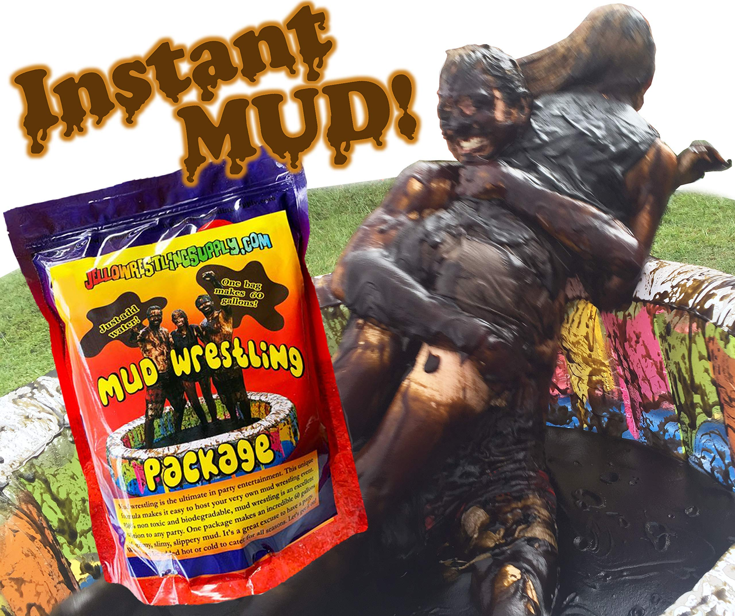 INSTANT MUD for Wrestling, Mud Pies, Balloons & Bombs JUST ADD WATER Bulk Mud powder makes 60 GALLONS of fake mud. Safe, clean mud run obstacle pits, pitch burst, Slime sludge messy kit oil tar by JelloWrestlingSupply.com