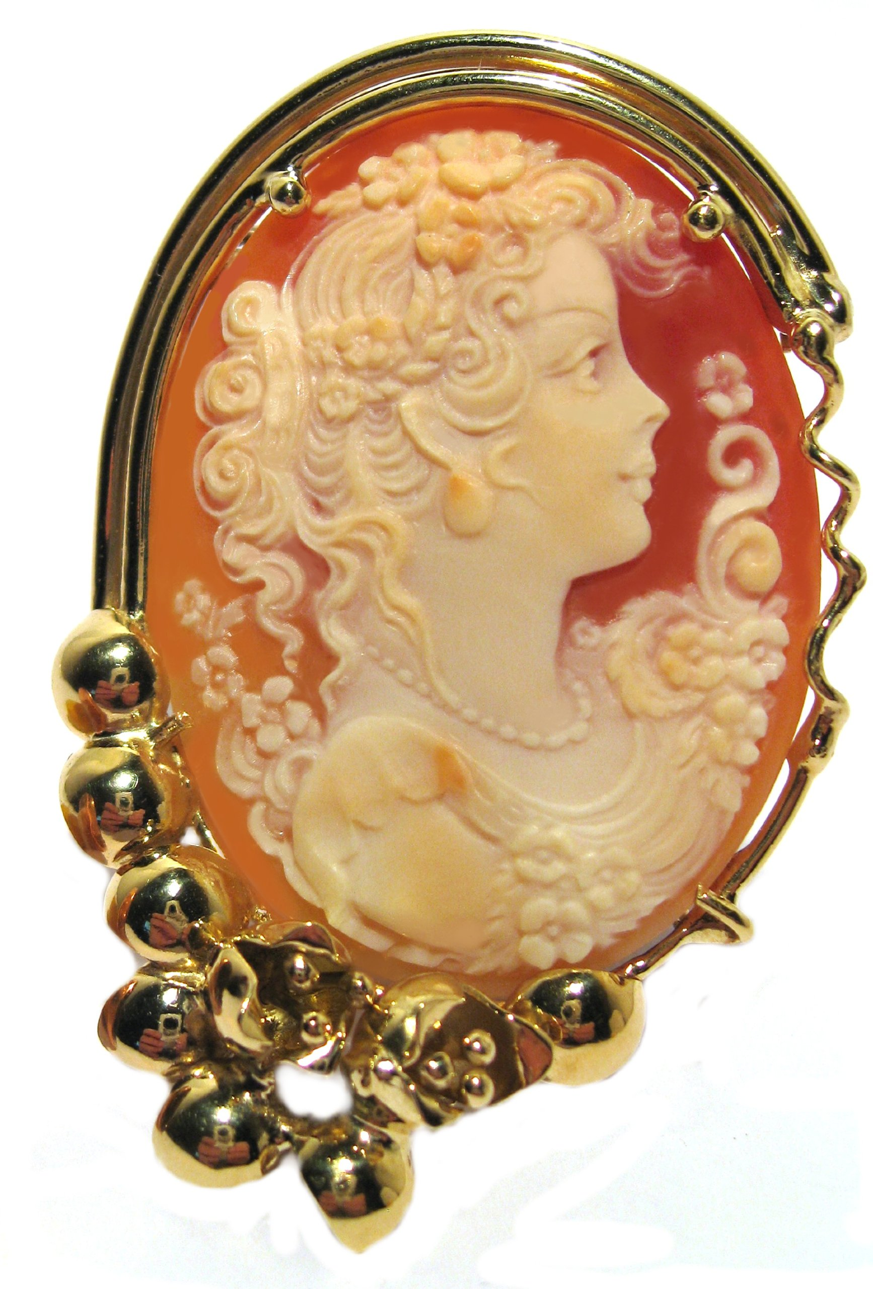 Cameo Solid 18k Yellow Gold Master Carved, Summer Dream Carnelian Conch Shell Italian …