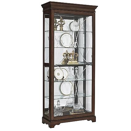 Pulaski P021575 Harley Diamond Etched Sliding Door Curio Display Cabinet,  36.5u0026quot; X 14.75u0026quot;
