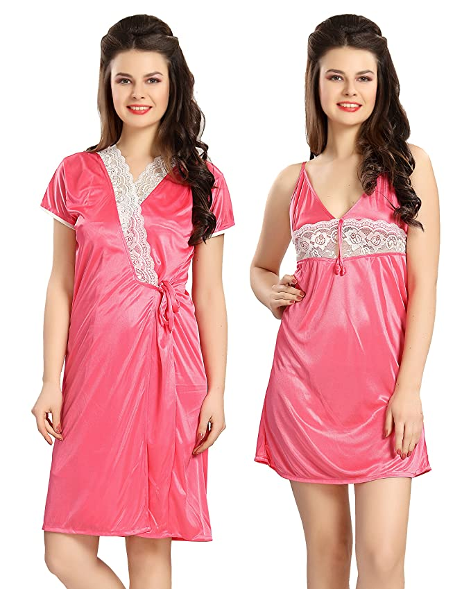 d25a72ec1c AV2 Women s Satin Short Nighty with Lace and Robe (Pink