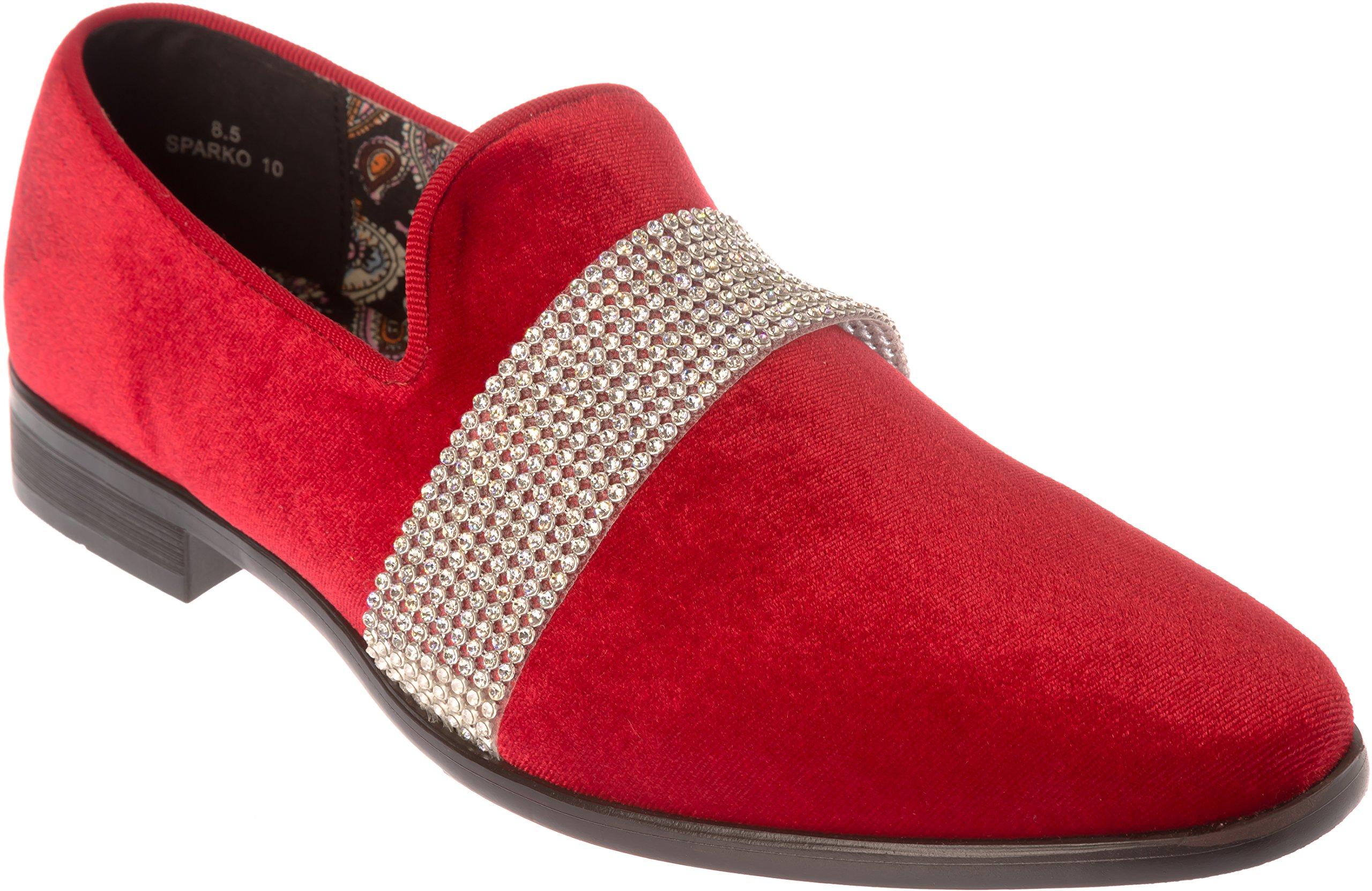 Shoes Picker sparko10 Mens Slip-On Fashion-Loafer Sparkling-Glitter Red Dress-Shoes Size 9