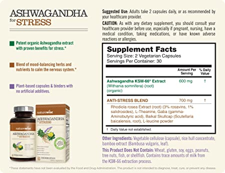 NatureWise Ashwagandha for Stress Relief | KSM 66 Ashwagandha Organic  Extract + GABA,