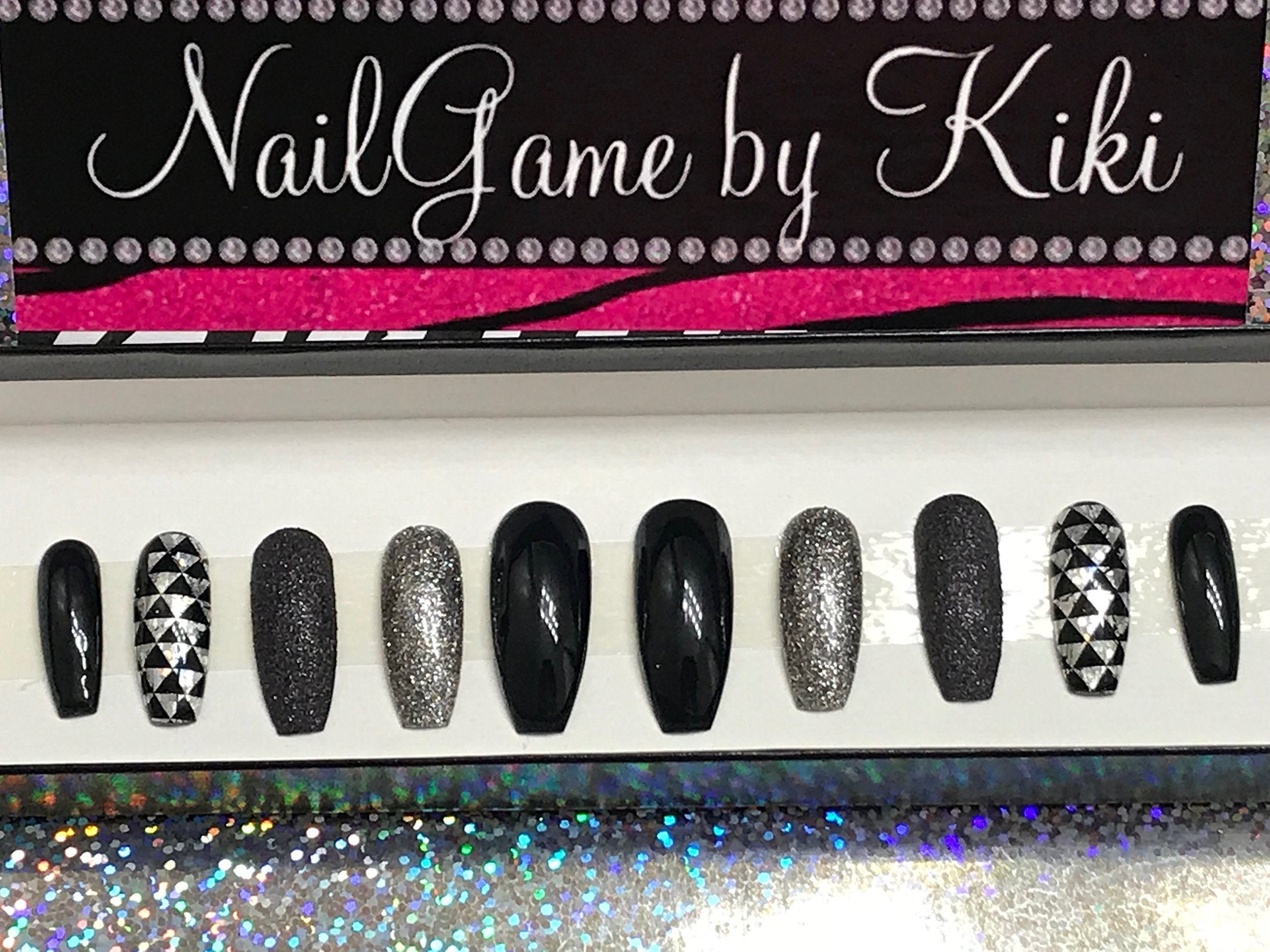 Shades of Black Hand Designed Press On Nails
