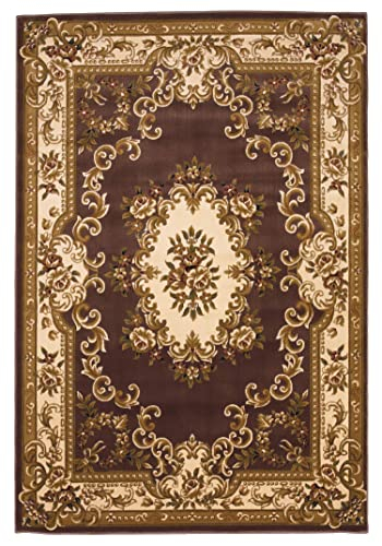KAS Oriental Rugs Corinthian Collection Aubusson Area Rug, 7 7 x 10 10 , Plum Ivory