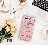 Hepix iPhone 8 Plus Floral Case iPhone 7 Plus Clear Case Cherry Blossom Flowers Pattern Soft Flexible TPU Phone Case with Four Bumper Shock-Absorption