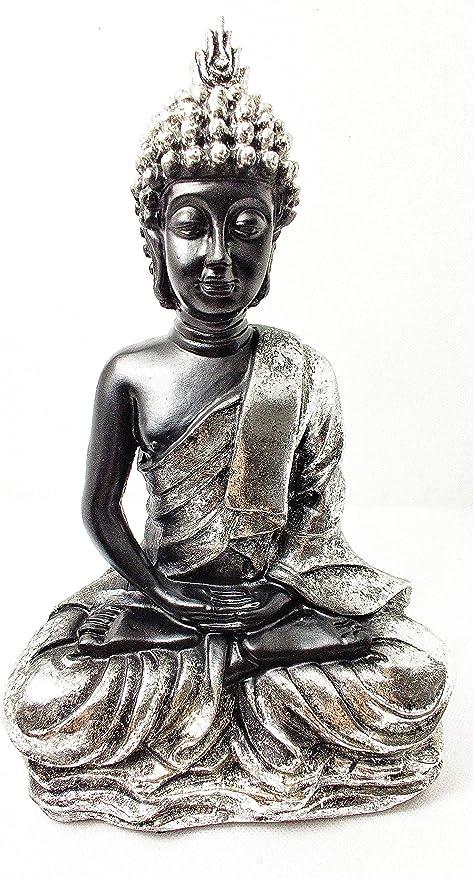 Home Gadgets Figura Decorativa Buda Resina Sentado, para Decoracion Salon o Jardin Color Negro y Plata: Amazon.es: Hogar