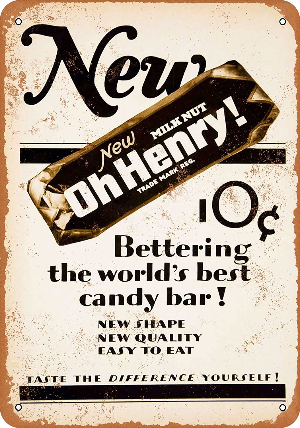 Wall-Color 7 x 10 Metal Sign - 1927 Oh Henry Candy Bar - Vintage Look