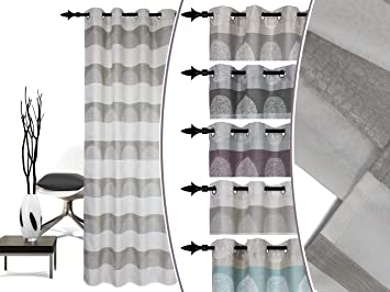 ae64e1e710d977 blickdicht gewebter Ösenschal Lounge von deko trends - moderne  Querstreifenoptik mit hochwertigem Effektgarn - Markenqualität made