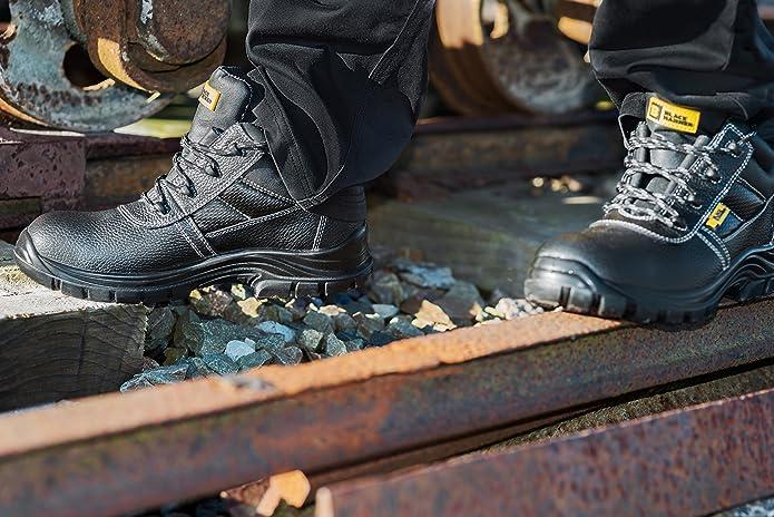 Botas de Seguridad de Cuero para Hombres Puntera de Acero Protección de Entresuela Resistente al Agua Impermeable S3 SRC Calzado de Trabajo al Tobillo de ...