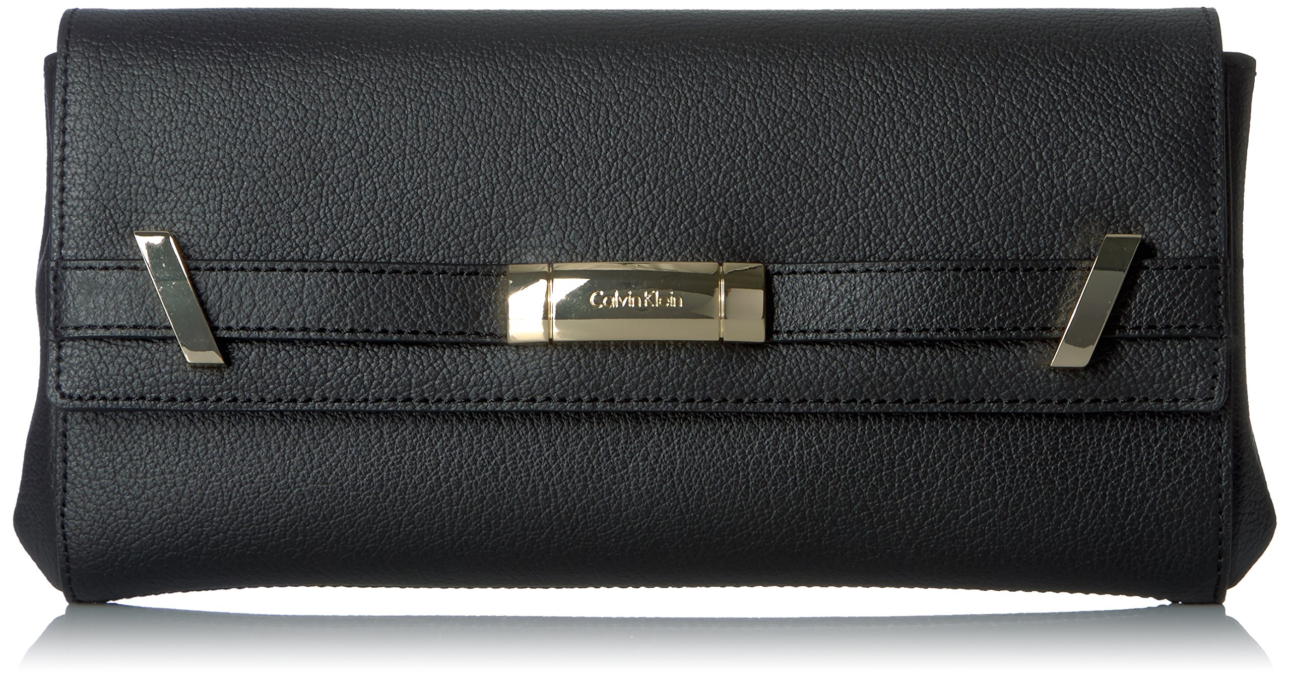 Calvin Klein Brooke Tumbled Leather Clutch, Black/Gold
