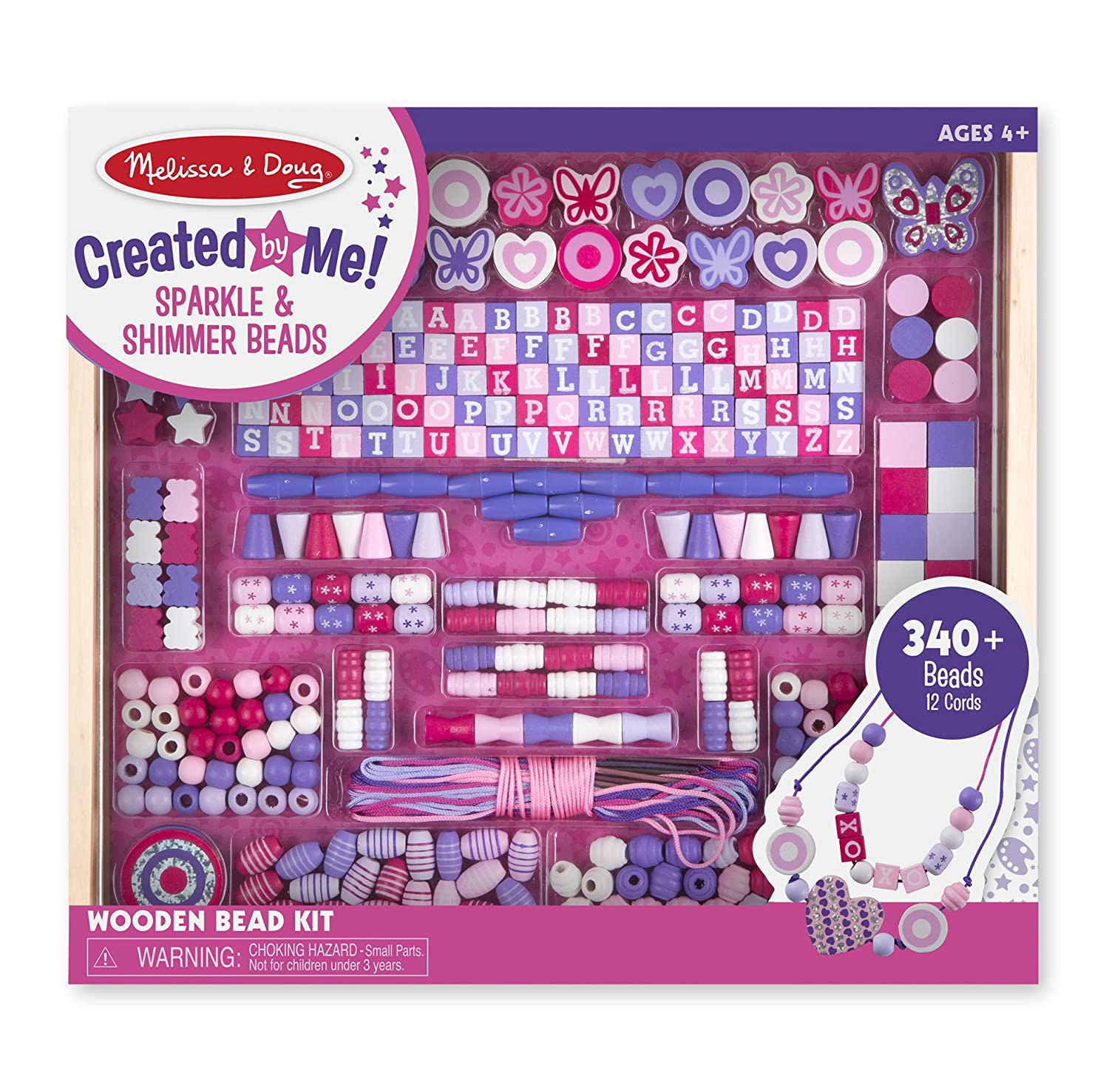 Melissa & Doug Deluxe Collection Wooden Bead Set With 340+ Beads for Jewelry-Making 9493