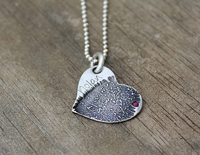 Amazon fine silver necklace pendant with your custom fine silver necklace pendant with your custom fingerprint fingerprint jewelry fingerprint necklace mom mozeypictures Image collections