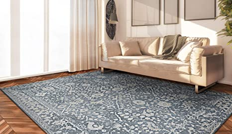 Couristan Marina Lillian Area Rug Slate Blue Oyster 5 3 X 7 6 Furniture Decor