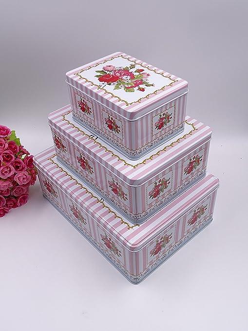 French Style Pink U0026 White Striped Multipurpose Storage Tins, Shabby Chic,  Set Of 3