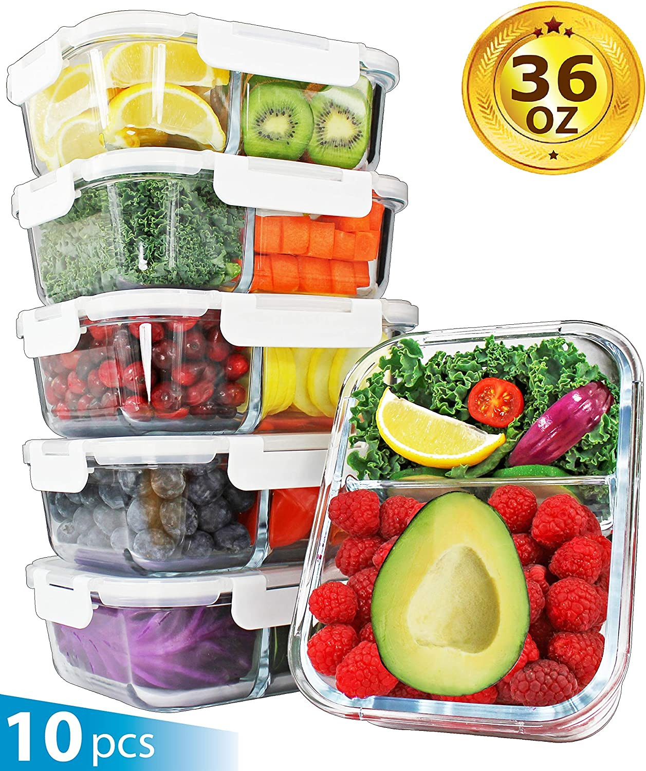 [36oz, 5-Pack Premium] Glass Meal Prep Containers 2 Compartment Set- Food Lunch Storage- Airtight Locking Lids - Portion Control -Microwave, Freezer, Oven & Dishwasher Safe (4.5 Cups)