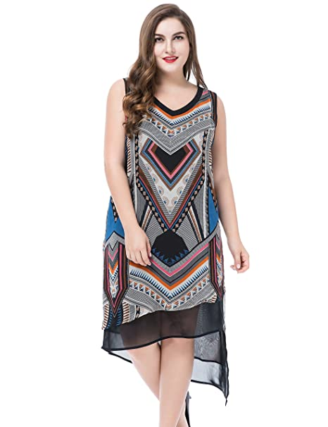 d4156195a542 Chicwe Women s Plus Size Sleeveless Multi Layer Dress 20