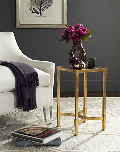 Safavieh Home Collection Halyn Gold Leaf Mirror Top End Table
