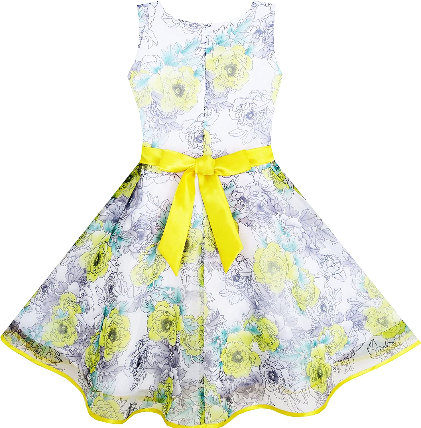 Sunny Fashion 3 Layers Girls Dress Sunflower Wave Pageant Bridesmaid