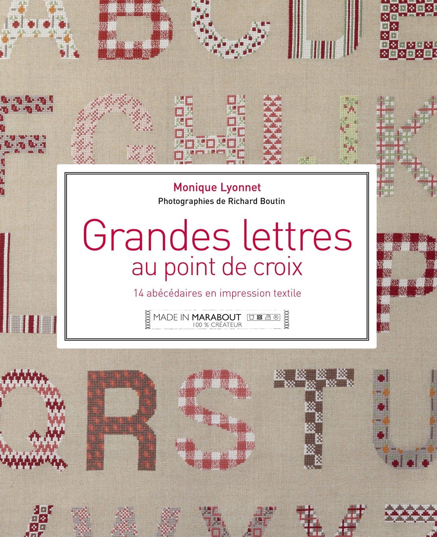 Grandes lettres au point de croix : 14 abécédaires en impression textile
