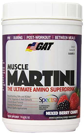 GAT Muscle Martini The Ultimate Amino Super Drink With 30 Fruit And Vegetable Extracts Mixed Berry Candy