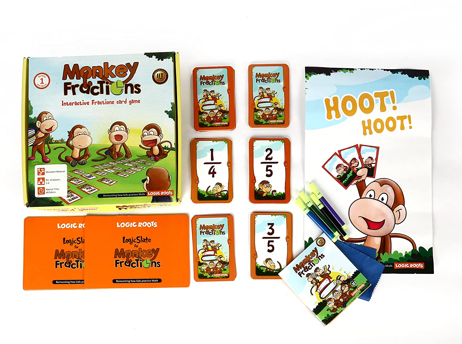 fractions monkey interactive card game math centers or stations