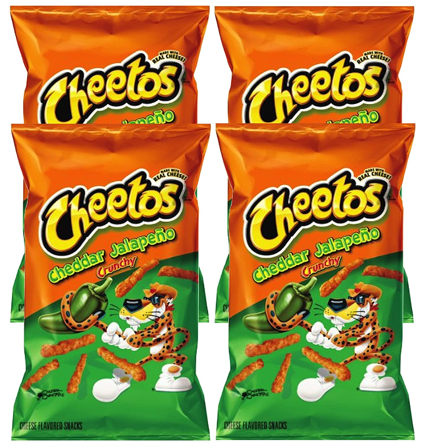 Cheetos Cheddar Jalapeño Crunchy Cheese Flavored Party Snacks Net Wt 8.5 Oz (pack of 4)