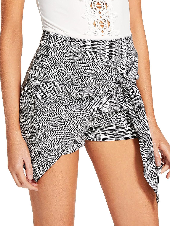 WDIRA Women's Elegant Mid Waist Asymmetrical Knotted Overlap Front Shorts