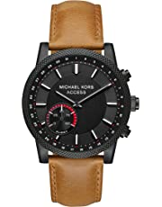 Michael Kors MKT4026 Access Men's Hutton Hybrid Quartz Stainless Steel and Leather Casual Smartwatch Brown