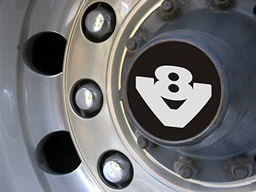 Juego de 2 tapacubos V8 de aluminio oxidado grabado para todos los camiones, accesorio de decoración: Amazon.es: Coche y moto