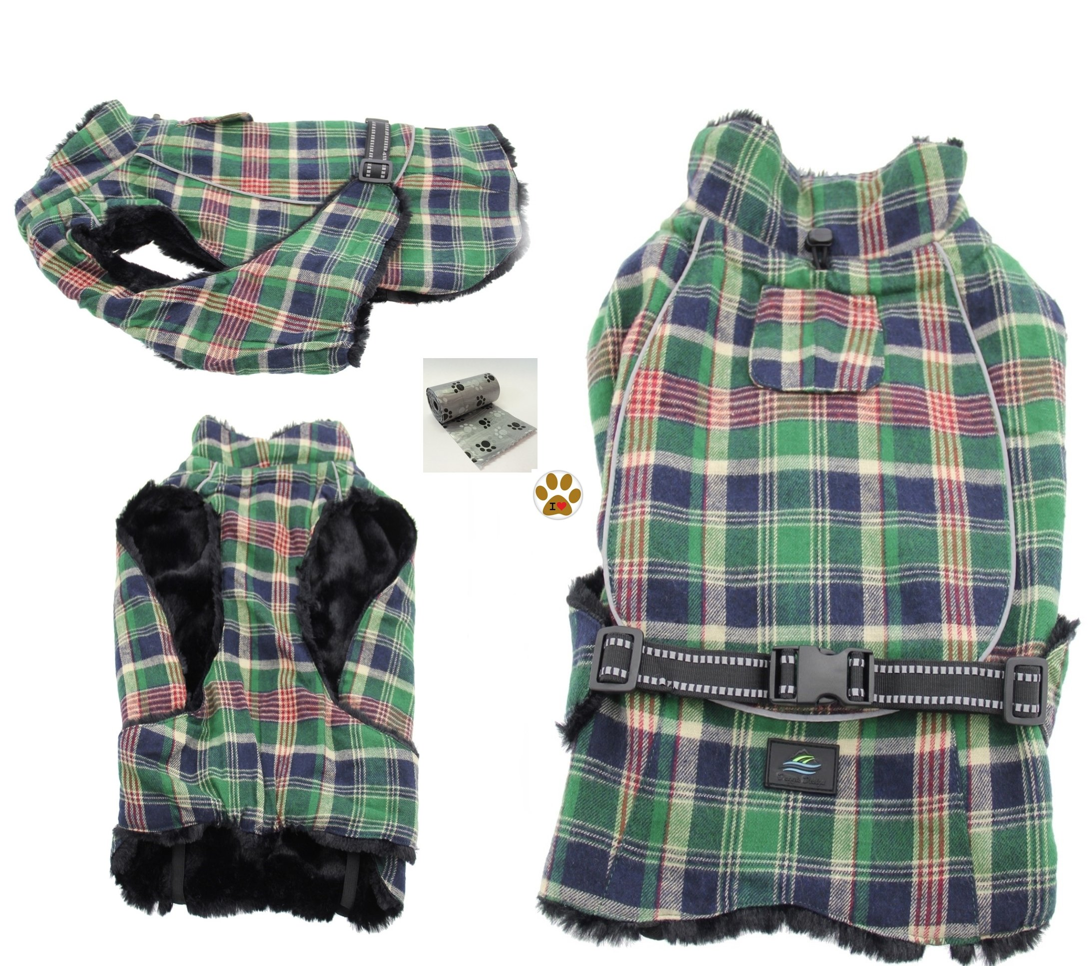 Alpine Cold Weather Flannel Plaid Fur Lined Pinned Dog Coat with Bags Set - (5XL - Chest 37-40'', Neck 30-32'', Back 30'', Green/Blue) by DOGGIE DESIGN (Image #1)