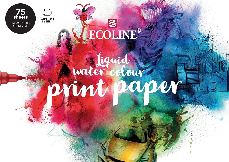 Ecoline Print Papel DIN A4, 75 Suelto Hojas, druckpapier, Papel de Dibujo, 150g / M ²