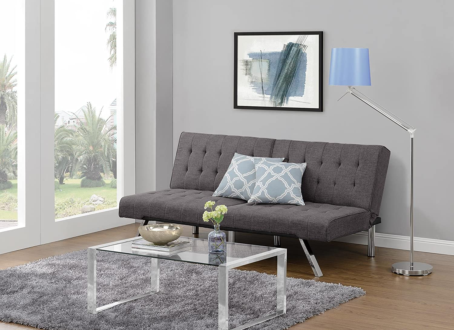 DHP Emily Futon Sofa Bed, Modern Convertible Couch With Chrome , Rich Grey Linen
